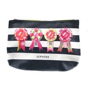 NEW Black White Ribbon & Stripes Makeup bag